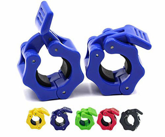 Picture of 1 Inch Barbell Clamps Lock-Jaw,Quick Release Pair of Locking 1'' Diameter Standard Bar Weight Plates Collar Clips,for Workout Weightlifting Fitness Training Bodybuilding