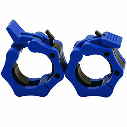 """Picture of Greententljs Olympic Barbell Weight Clamps 2 Inch Clips Quick Release Locking 2"""" Pro Olympic Bars Deadlifts Weights Plates for Squats Weightlifting Fitness Body-Solid (Blue, Pair Set)"""
