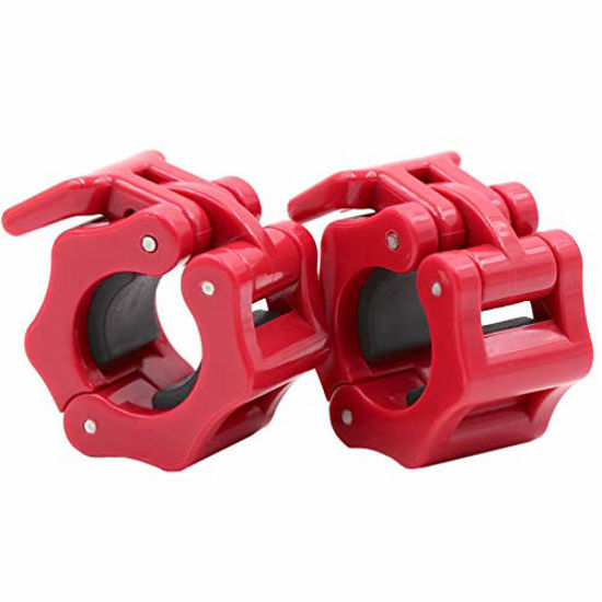 Picture of IADUMO Barbell Clamps Safety Weight Clips 1 Inch Quick Release Weight Plate Collars 1 Pair Standard Curl Bar Collar Fast Locking Weightlifting,Strength Training/Gym Home (Red)