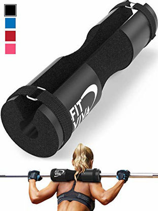 Picture of Fit Viva Black Barbell Pad for Standard and Olympic Barbells with Velcro Safety Straps - Foam Pad for Weightlifting, Hip Thrusts, Squats, and Lunges