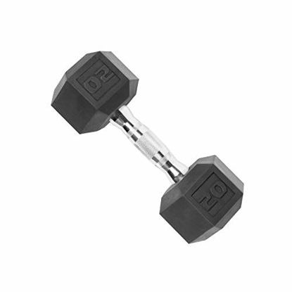 Picture of CAP Barbell SDP-020 Color Coated Hex Dumbbell, Black, 20 pound, Single