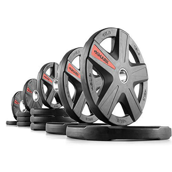 Picture of XMark Texas Star 205 lb Set Olympic Plates, Patented Design, One-Year Warranty, Olympic Weight Plates