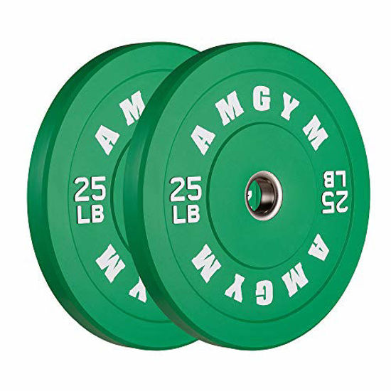 Picture of AMGYM Color Olympic Bumper Plate, Weights Plates, Bumper Weight Plate, Steel Insert, Strength Training, Pair
