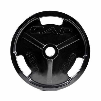 Picture of CAP Barbell Black Olympic Rubber Grip Weight Plates, Single, 45 Pound