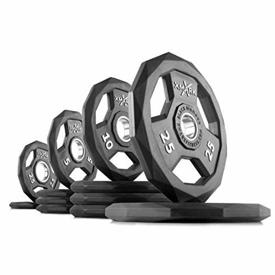 Picture of XMark Black Diamond 115 lb Set Olympic Weight Plates, One-Year Warranty, Patented Design