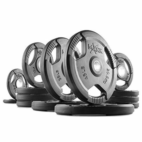 Picture of XMark TRI-Grip 225 lb Set Olympic Plates, One-Year Warranty, Olympic Weight Plates, Classic Design, Rubber Coated Olympic Weight Plate Set, Olympic Barbell Weight Set for Home