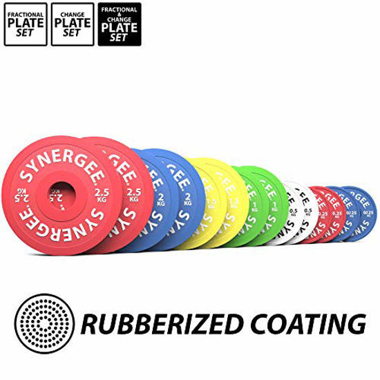 Picture of Synergee Rubberized Fractional & Change Plates 0.125, 0.25, 0.5, 1.0, 1.5, 2.0 & 2.5 kg Set – Incremental Weights, Micro Weights for Powerlifting, Olympic Lifting, and Strength Workouts