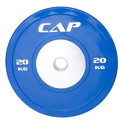 """Picture of CAP Barbell Olympic Rubber Bumper Plate with Steel Hub 2"""" (Single), Blue, 20 kg"""