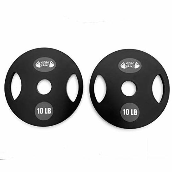 Picture of Micro Gainz 10LB Pair of Olympic Weight Plates- Designed for Olympic Barbells, Used for Strength Training and Micro Loading, Made in The USA