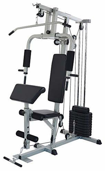 Picture of Sporzon Home Gym System Workout Station with 330LB of Resistance, 125LB Weight Stack, Gray