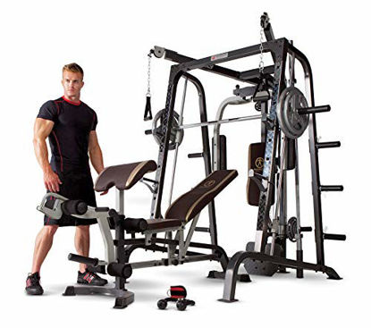 Picture of Marcy Smith Cage Workout Machine Total Body Training Home Gym System with Linear Bearing Md-9010G, Silver (MD-9010)