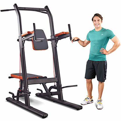Picture of HARISON Multifunction Power Tower Pull Up Dip Station with Bench Adjustable Height for Home Gym Strength Training Fitness Equipment , Dip Stands, Pull Up Bars, Push Up Bars, VKR