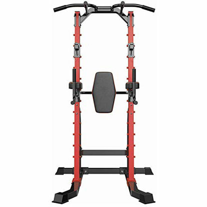 Picture of PUPZO Power Tower Pull Up Bar Dip Stands Multi-Function Adjustable Body Building Training Exercise Equipment for Home Gym Office 500Lbs Capacity (Red)