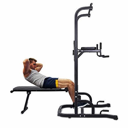 Picture of ONETWOFIT Multi-Function Power Tower with Sit Up Bench,Adjustable Height Pull Up Tower Heavy Duty Dip Station Fitness Equipment for Home Gym Supports to 330 Lbs OT127