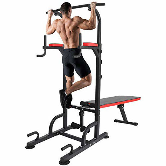 Picture of KAC Power Tower with Weight Bench, Adjustable Dip Station, Pull Up Bar for Home Gym Strength Training Workout Equipment