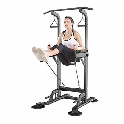 Picture of Power Tower, Adjustable Height Dip Station Pull Up Bar,Strength Training Workout Equipment,Suit for Home Gym