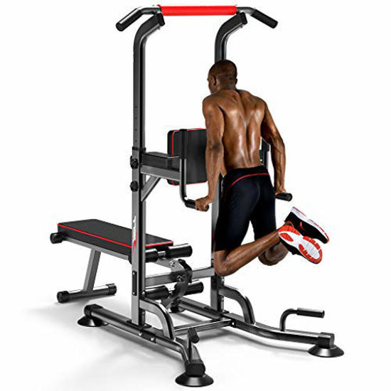 Picture of Printasaurus Multi-Function Power Tower, Workout Dip Station with Sit up Bench, Home Gym Pull Up Bar Dip Station, Exercise Tower Dip Stand, Adjustable Height Strength Training Fitness Equipment