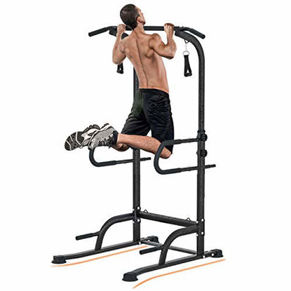 Picture of Vivitory Multifunction Power Tower Dip Station, Pull Up Core Power Bar Station Tower, 2 Elastic Pull Ropes, Heavy Duty Fitness Pull Up Tower Equipment, 330lbs Max Load