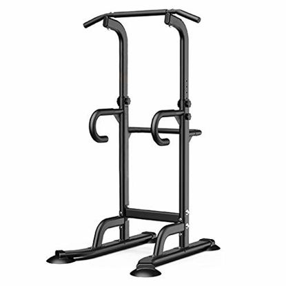 Picture of Power Tower Workout Dip Station - Pull Up Bar Exercise Home Gym, Strength Training Machine, Parallette Exercise - Adjustable Heavy Duty Dip Stand Body Press Bar for Both Teenagers and Adults (Black)
