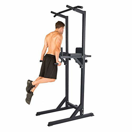 Picture of LUCKYERMORE Home Gym Power Tower Pull Up Dip Station Multi-Function Adjustable Height Training Exercise Equipment Workout