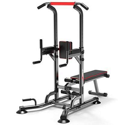 Picture of vin Power Tower Pull Up Bar Dip Station Adjustable Height Strength Training Workout Equipment with Dumbbell Bench for Home Gym