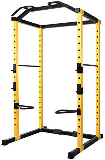 Picture of HulkFit 1000-Pound Capacity Multi-Function Adjustable Power Cage with J-Hooks and Dip Bars, Power Cage Only, Yellow