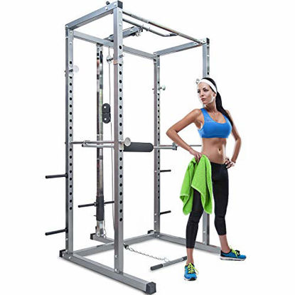 Picture of Merax Athletics Fitness Power Rack Olympic Squat Cage Home Gym with LAT Pull Attachment (Silver Power Rack)