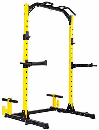 Picture of HulkFit Multi-Function Adjustable Power Rack Exercise Squat Stand with J-Hooks and Other Accessories,Multiple Versions, Pro, 1000LB Capacity
