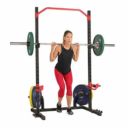 Picture of Sunny Health & Fitness Power Zone Squat Stand Rack Power Cage - SF-XF9931, Black/Red