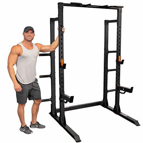 Picture of GRIND Fitness Chaos 4000 Power Rack, 6 Weight Plate Holders, Barbell Holder, Spotter Arms, Textured Multi-Grip Pull Up Bar, Heavy Duty J-Cups (Chaos4000 Squat Rack)