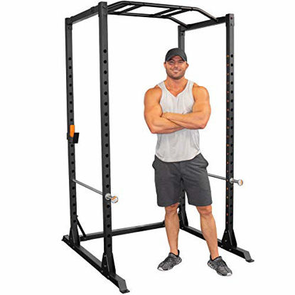 Picture of GRIND Fitness Alpha3000 Power Rack, Squat Rack with Barbell Holder, Silver Spotter Arm,2x2 Uprights, Textured Multi-Grip Pull Up Bar, Heavy Duty J-Cups (Alpha3000 Squat Rack)