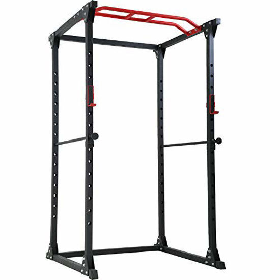 Picture of FDW Adjustable Power Cage 800lb Weight Capacity Olympic Power Rack Multi-Function Workout Station Pull-up Bar and Dip Handle Home Gym (Black)