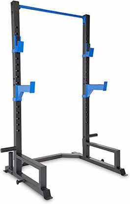 Picture of WF Athletic Supply Deluxe Power Cage with High Weight Capacity, J Hooks & Safety Spotter Arms, Olympic Weight Plate Storage and Bar Storage