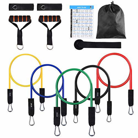 Picture of FITFIT Resistance Bands Set, 5-Piece Exercise Bands with Handles, Stackable Up to 150 lbs, Training Tubes with Door Anchor & Ankle Straps for Resistance Training, Perfect Muscle Builder
