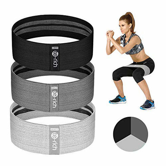Picture of Te-Rich Resistance Bands for Legs and Butt, Fabric Women/Men Stretch Exercise Loops, Thick Wide Non-Slip Gym Bootie Band 3 Set for Squat Glute Hip Thigh Workout Training