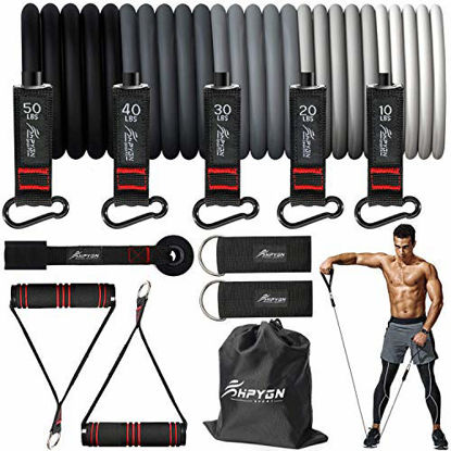 Picture of HPYGN Resistance Bands Set, Exercise Bands with Handles, Ankle Straps, Door Anchor, Carry Bag, Great for Resistance Training, Physical Therapy, Yoga, Home Workouts