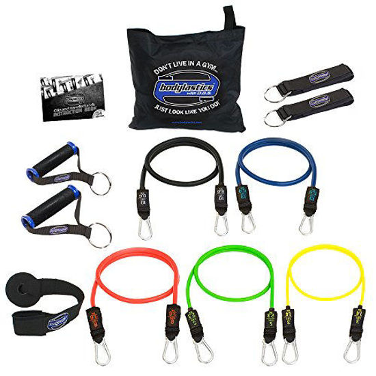 Picture of bodylastics Stackable (12 Pcs) MAX Tension Resistance Bands Sets. This Leading Exercise Band System Includes 5 of Our Anti-Snap Exercise Tubes, Heavy Duty Components, and a Travel Bag.