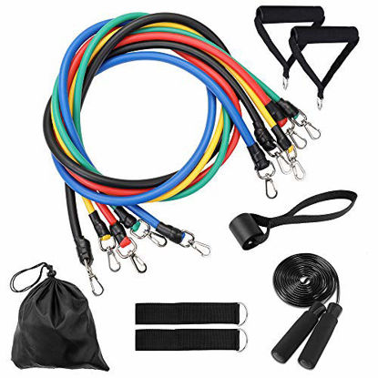 Picture of TOMSHOO Resistance Bands Set 12pcs, Exercise Workout Bands Sets with 5 Stackable Resistance Bands,Handles,Door Anchor,Ankle Straps,Skipping Rope,Waterproof Carry Bag for Outdoor Gym Home Training Yoga