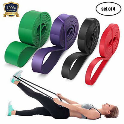 Picture of LEEKEY Resistance Band Set, Pull Up Assist Bands - Stretch Resistance Band - Mobility Band Powerlifting Bands For Resistance Training, Physical Therapy, Home Workouts (Set-4)