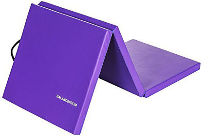 """Picture of BalanceFrom 2"""" Thick Tri-Fold Folding Exercise Mat with Carrying Handles for MMA, Gymnastics and Home Gym Protective Flooring (Purple)"""