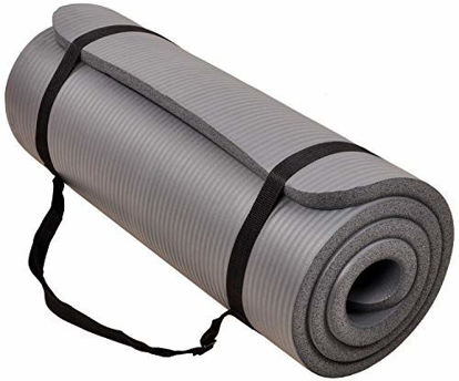 Picture of BalanceFrom GoCloud All-Purpose 1-Inch Extra Thick High Density Anti-Tear Exercise Yoga Mat with Carrying Strap (Gray)