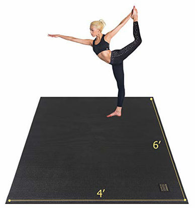 """Picture of Gxmmat Large Yoga Mat 72""""x 48""""(6'x4') x 7mm for Pilates Stretching Home Gym Workout, Extra Thick Non Slip Anti-Tear Exercise Mat, Use Without Shoes"""