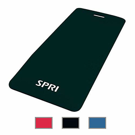 """Picture of SPRI Exercise Mat for Fitness, Yoga, Pilates, Stretching & Floor Exercises, Black, 48""""L x 20""""W x 1/2-Inch Thick"""