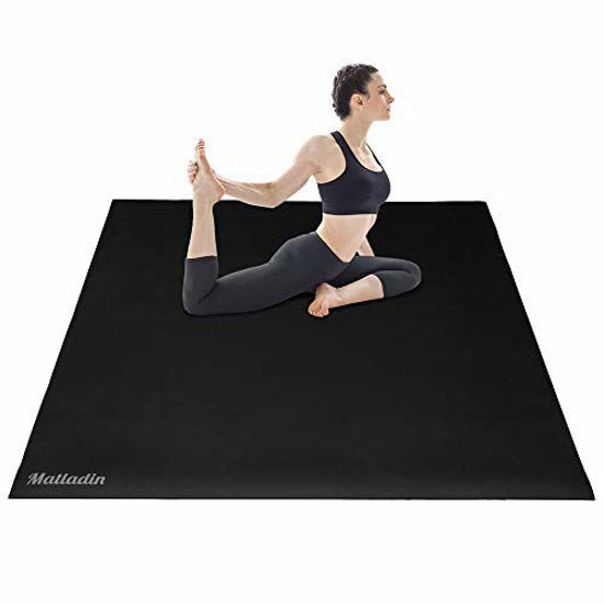 Picture of Matladin Large Exercise Mat 6'x4'x7mm, Extra Thick & Wide Anti-Tear Workout Mats, Fitness Exercise Mat for Yoga, Stretching, Cardio Workout (Black, 6'x4')