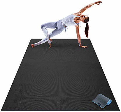 """Picture of Premium Large Yoga Mat - 7' x 5' x 8mm Extra Thick, Ultra Comfortable, Non-Toxic, Non-Slip, Barefoot Exercise Mat - Yoga, Stretching, Cardio Workout Mats for Home Gym Flooring (84"""" Long x 60"""" Wide)"""