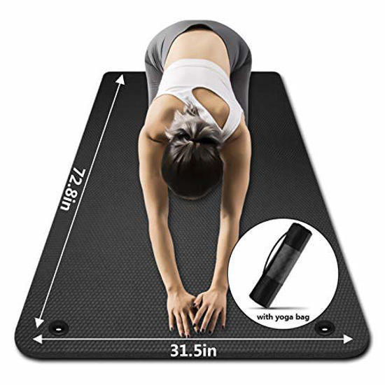 Picture of Yoga Mat 31.5 inch 10mm ,LFS Hangable Extra Wide and Extra Thick Non Slip Exercise & Fitness Yoga Mat with Band and Yoga Bag for All Yoga Outdoor Practice , Pilates & Floor Workout (Black, 10mm)