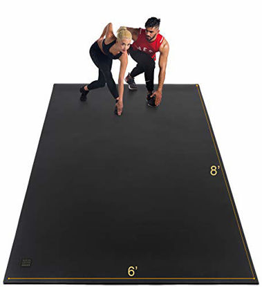 Picture of Gxmmat Extra Large Exercise Mat 6'x8'x7mm, Thick Workout Mats for Home Gym Flooring, High Density Non-Slip Durable Cardio Mat, Shoe Friendly,Great for Plyo, MMA, JumpRope,Stretch,Fitness