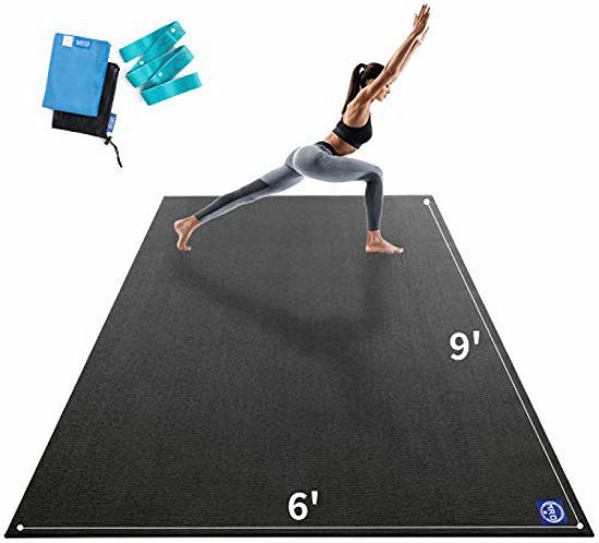 Picture of Premium Large Yoga Matfor Home Gym Workout 9'x6'x9mm, Extra Wide and Long Exercise Mats for Double Men and Women, Thick, Non-Slip, Soft for Stretchingand Light Cardio on any Floor, Use Without Shoes
