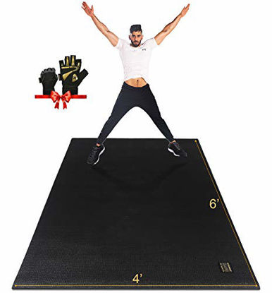 Picture of Gxmmat Large Exercise Mat 6'x4'x7mm, Thick Workout Mats for Home Gym Flooring, Extra Wide Non-Slip Durable Cardio Mat, High Density, Shoe Friendly,Great for Plyo, MMA, JumpRope,Stretch,Fitness