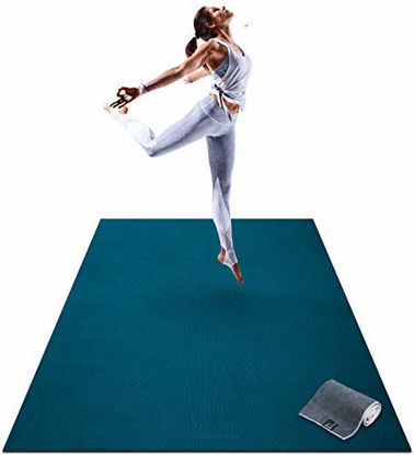 """Picture of Premium Large Yoga Mat - 6' x 4' x 8mm Extra Thick & Comfortable, Non-Toxic, Non-Slip, Barefoot Exercise Mat - Yoga, Stretching, Cardio Workout Mats for Home Gym Flooring (72"""" Long x 48"""" Wide)"""